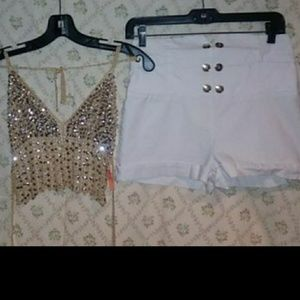 Gold sequence halter top and white high-rise short